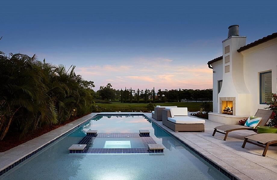 The Capriano villa home offers one example of London Bay Homes' custom outdoor living spaces with a view